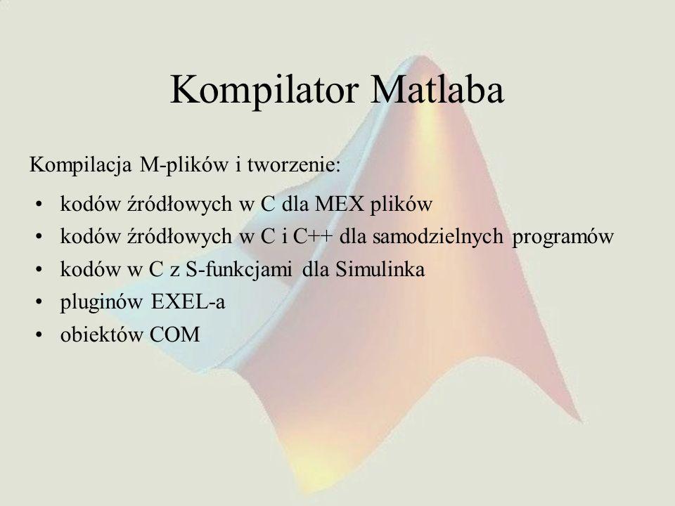Kompilator Matlaba kodów źródłowych w C dla MEX plików kodów źródłowych w C i C++ dla samodzielnych programów kodów w C z S-funkcjami dla Simulinka pl
