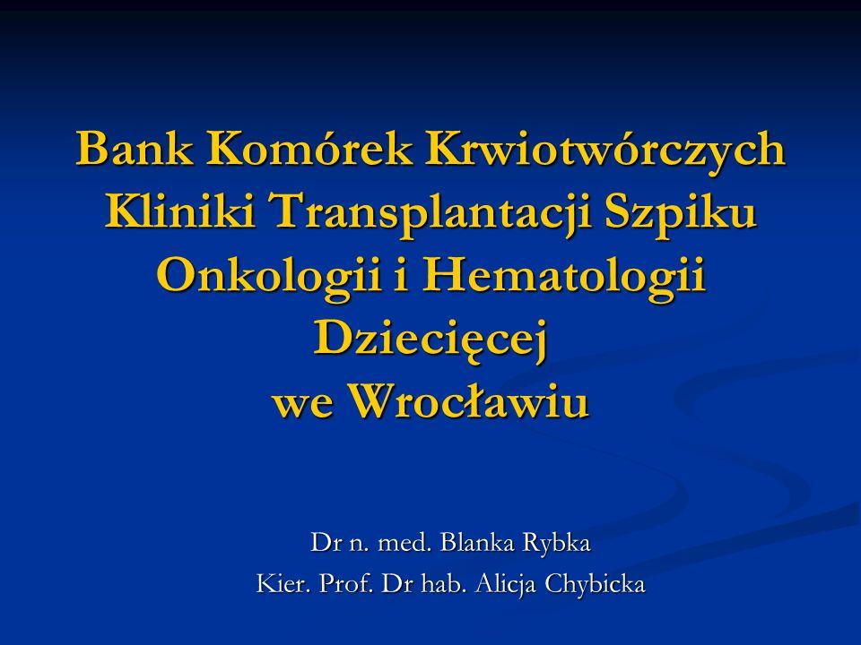 Bank Komórek Krwiotwórczych Kliniki Transplantacji Szpiku Onkologii i Hematologii Dziecięcej we Wrocławiu Dr n.