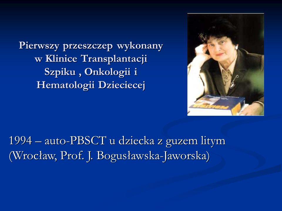 Pierwszy przeszczep wykonany w Klinice Transplantacji Szpiku, Onkologii i Hematologii Dzieciecej 1994 – auto-PBSCT u dziecka z guzem litym (Wrocław, Prof.