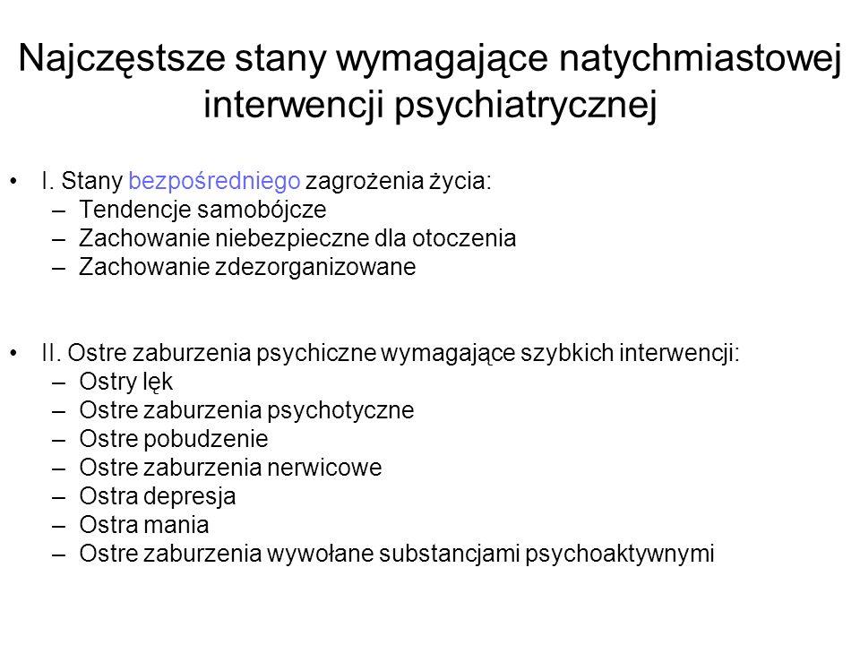 Najczęstsze stany wymagające natychmiastowej interwencji psychiatrycznej I. Stany bezpośredniego zagrożenia życia: –Tendencje samobójcze –Zachowanie n