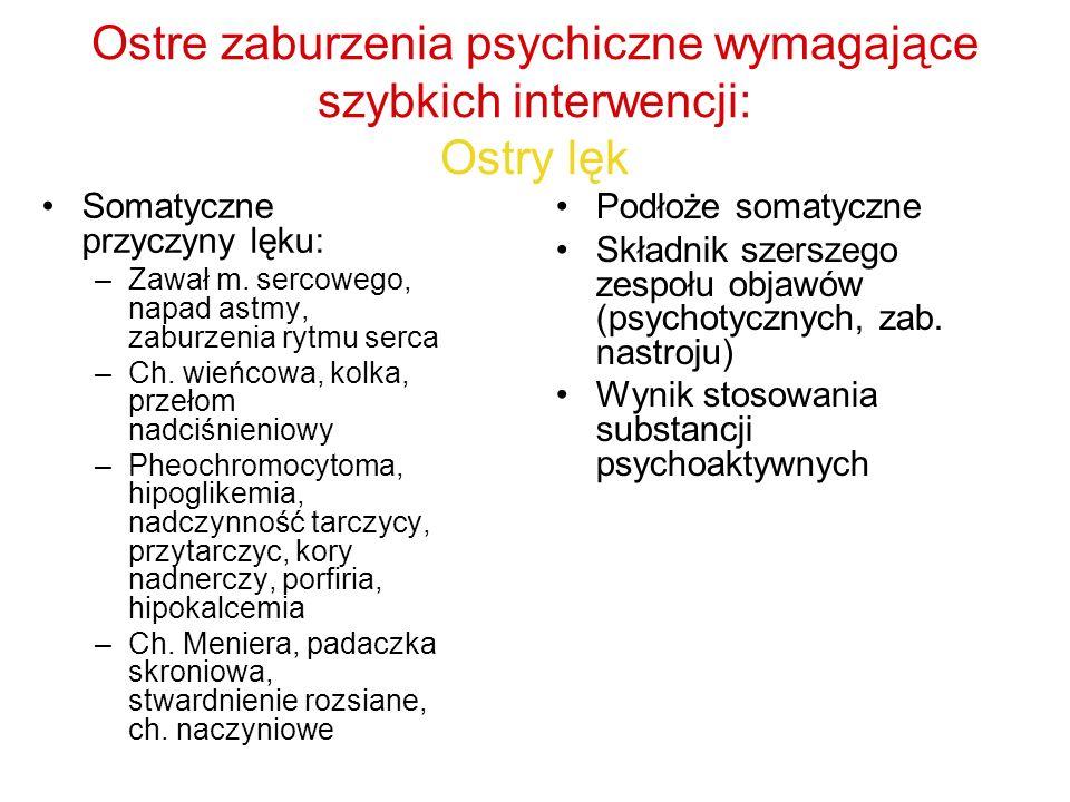 Ostre zaburzenia psychiczne wymagające szybkich interwencji: Ostry lęk Somatyczne przyczyny lęku: –Zawał m. sercowego, napad astmy, zaburzenia rytmu s