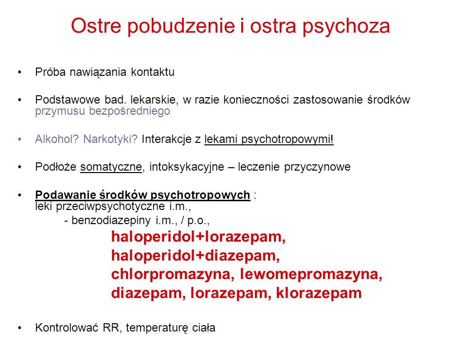 Ostre pobudzenie i ostra psychoza Próba nawiązania kontaktu Podstawowe bad. lekarskie, w razie konieczności zastosowanie środków przymusu bezpośrednie