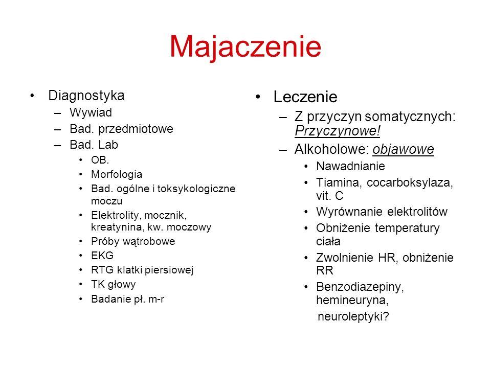 Majaczenie Diagnostyka –Wywiad –Bad. przedmiotowe –Bad. Lab OB. Morfologia Bad. ogólne i toksykologiczne moczu Elektrolity, mocznik, kreatynina, kw. m