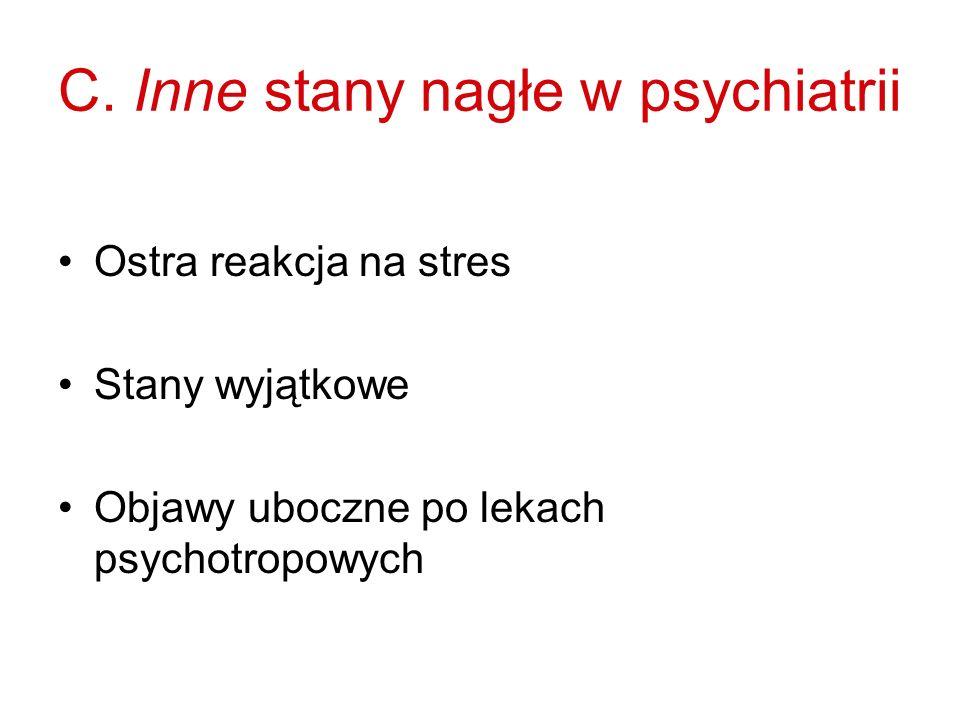 C. Inne stany nagłe w psychiatrii Ostra reakcja na stres Stany wyjątkowe Objawy uboczne po lekach psychotropowych