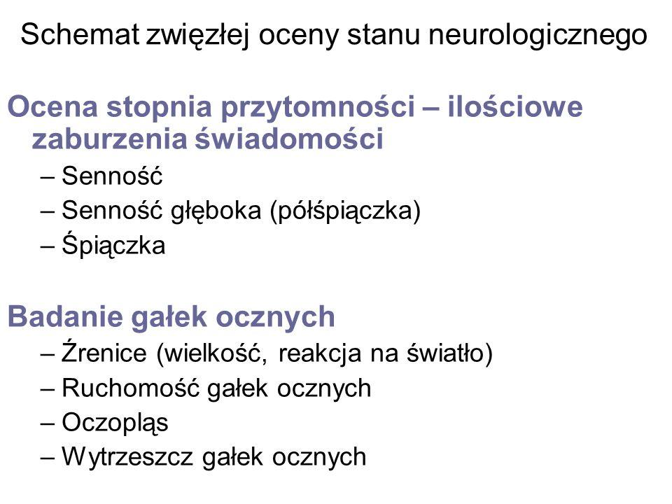 Schemat zwięzłej oceny stanu neurologicznego Ocena stopnia przytomności – ilościowe zaburzenia świadomości –Senność –Senność głęboka (półśpiączka) –Śp