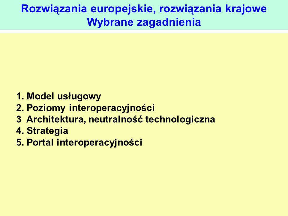 1. Model usługowy 2. Poziomy interoperacyjności 3 Architektura, neutralność technologiczna 4. Strategia 5. Portal interoperacyjności Rozwiązania europ