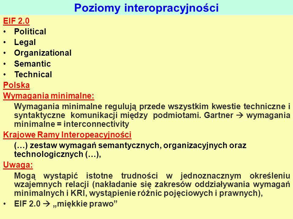 EIF 2.0 Political Legal Organizational Semantic Technical Polska Wymagania minimalne: Wymagania minimalne regulują przede wszystkim kwestie techniczne