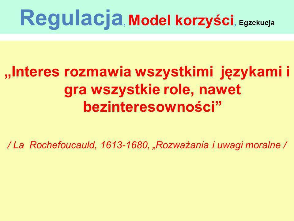 Regulacja, Model korzyści, Egzekucja Interes rozmawia wszystkimi językami i gra wszystkie role, nawet bezinteresowności / La Rochefoucauld, 1613-1680,
