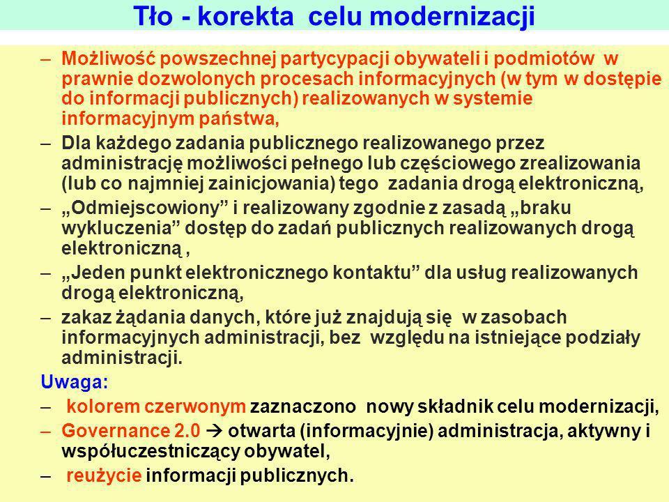 Tło - diagnoza stanu (wybrane zagrożenia) Resortowa, wyspowa, separacyjna infrastruktura informacyjna + Nieprzygotowana infrastruktura informacyjna (głównie w zakresie rejestrów i ram architektonicznych) + Duża podaż środków z UE wspierana środkami z budżetu oraz presja na skonsumowanie tych środków w określonym czasie + Autonomia prawno-kompetencyjna, finansowa i organizacyjna jednostek rządowych i samorządowych = Inflacja niespójnych, autonomicznych projektów informatycznych Pogłębienie dezintegracji informacyjnej /Jeśli teraz się temu nie zapobiegnie, to po wyczerpaniu lub ograniczeniu środków unijnych nie będzie możliwości zniwelowania skutków dezintegracji/