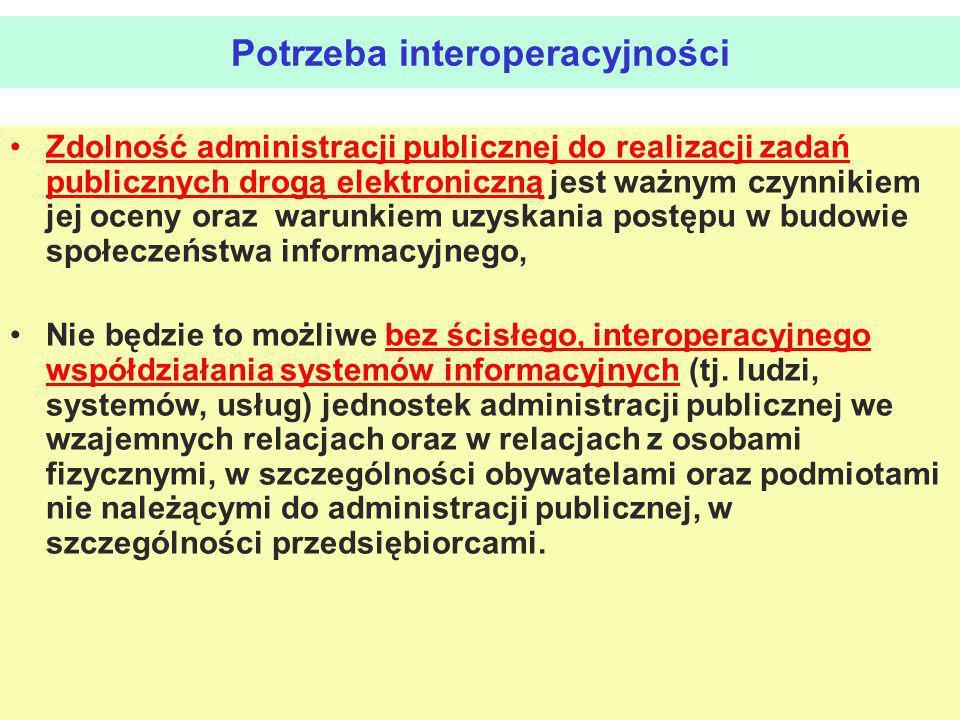 Potrzeba interoperacyjności Zdolność administracji publicznej do realizacji zadań publicznych drogą elektroniczną jest ważnym czynnikiem jej oceny ora