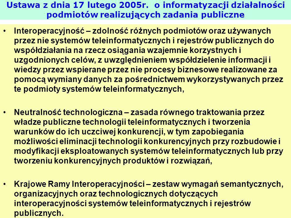 Interoperacyjność – zdolność różnych podmiotów oraz używanych przez nie systemów teleinformatycznych i rejestrów publicznych do współdziałania na rzec