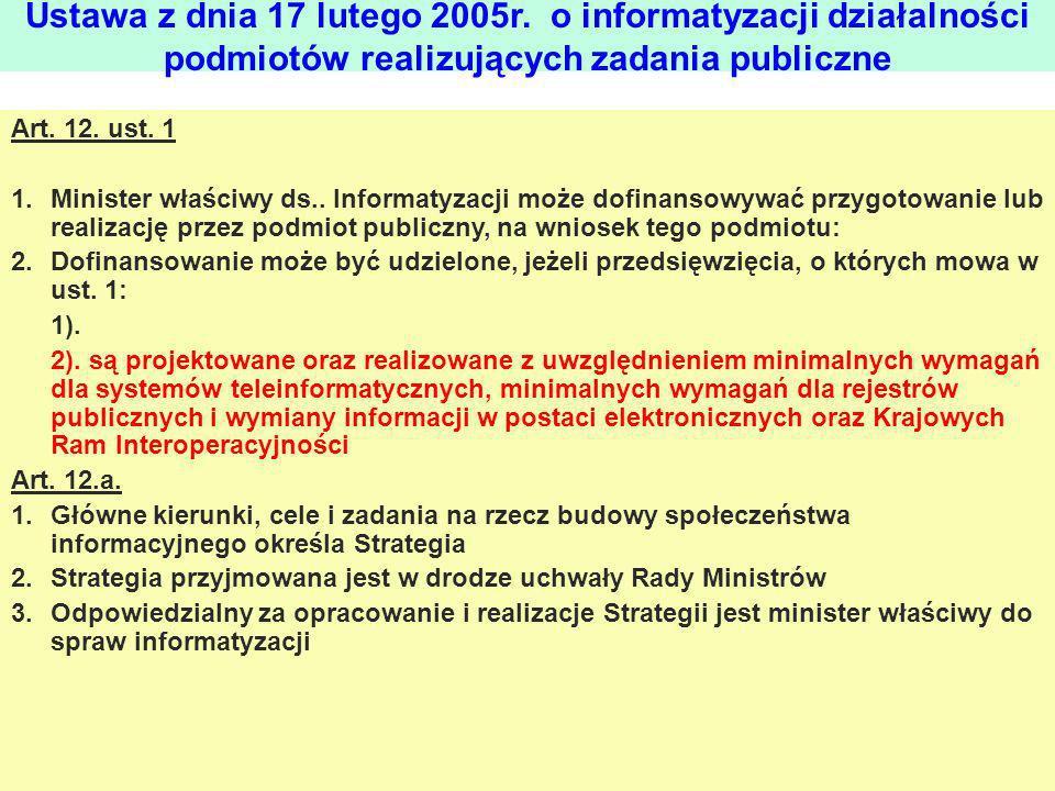 Art. 12. ust. 1 1.Minister właściwy ds.. Informatyzacji może dofinansowywać przygotowanie lub realizację przez podmiot publiczny, na wniosek tego podm