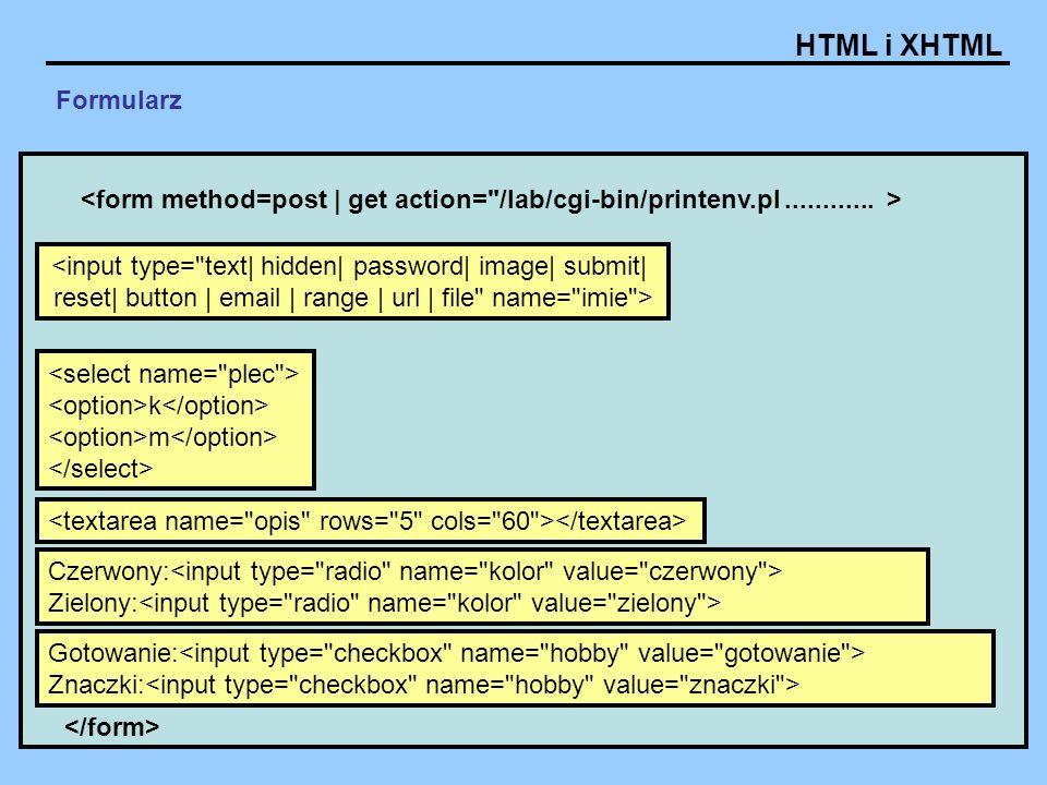 HTML i XHTML Formularze - Atrybuty: disabled wyłączenie elementu name nazwa elementu cols liczba kolumn tekstu rows liczba wierszy tekstu readonly element tylko do odczytu, brak możliwości zmiany wartości style / class Przykłady: Tu tekst domyślny Tu tekst domyślny