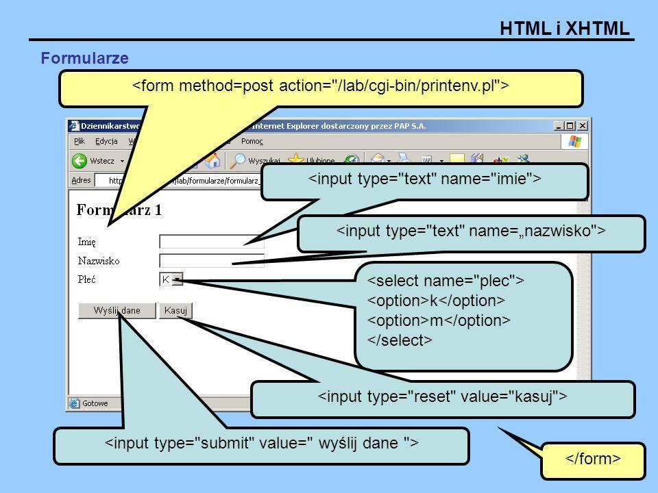 HTML i XHTML k m Formularze
