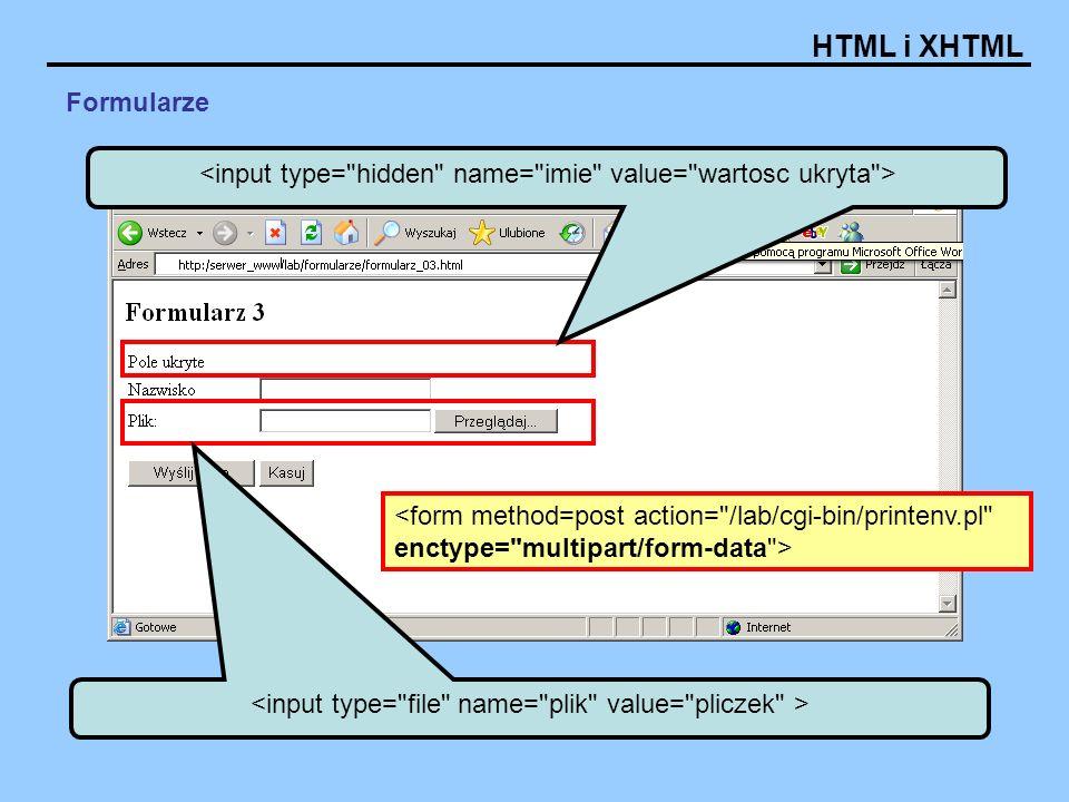 HTML i XHTML Formularze Rybki: Modelarstwo: Gotowanie: Znaczki: Programowanie: