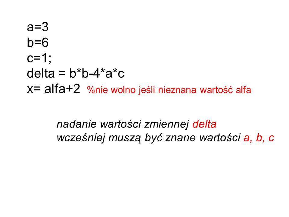 a=3 b=6 c=1; delta = b*b-4*a*c x= alfa+2 %nie wolno jeśli nieznana wartość alfa nadanie wartości zmiennej delta wcześniej muszą być znane wartości a, b, c