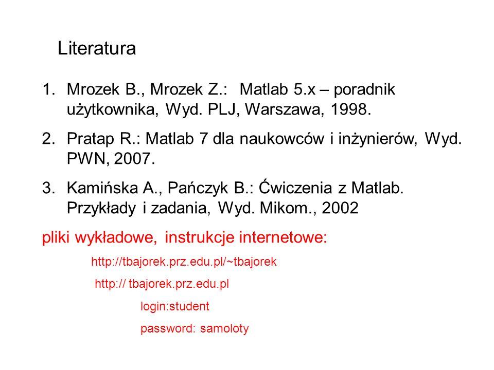 1.Mrozek B., Mrozek Z.:Matlab 5.x – poradnik użytkownika, Wyd. PLJ, Warszawa, 1998. 2.Pratap R.: Matlab 7 dla naukowców i inżynierów, Wyd. PWN, 2007.