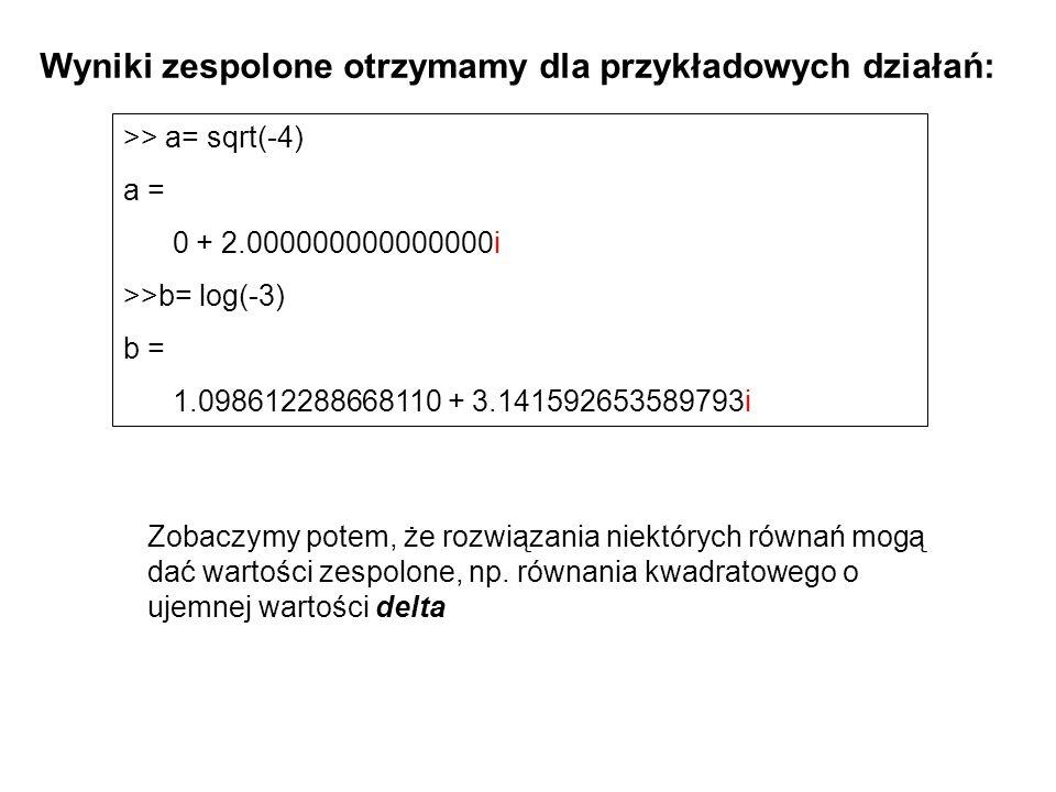 Wyniki zespolone otrzymamy dla przykładowych działań: >> a= sqrt(-4) a = 0 + 2.000000000000000i >>b= log(-3) b = 1.098612288668110 + 3.141592653589793i Zobaczymy potem, że rozwiązania niektórych równań mogą dać wartości zespolone, np.