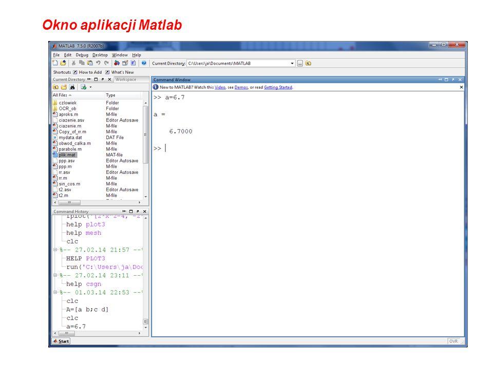 Okno aplikacji Matlab