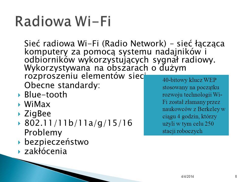 Sieć radiowa Wi-Fi (Radio Network) – sieć łącząca komputery za pomocą systemu nadajników i odbiorników wykorzystujących sygnał radiowy. Wykorzystywana