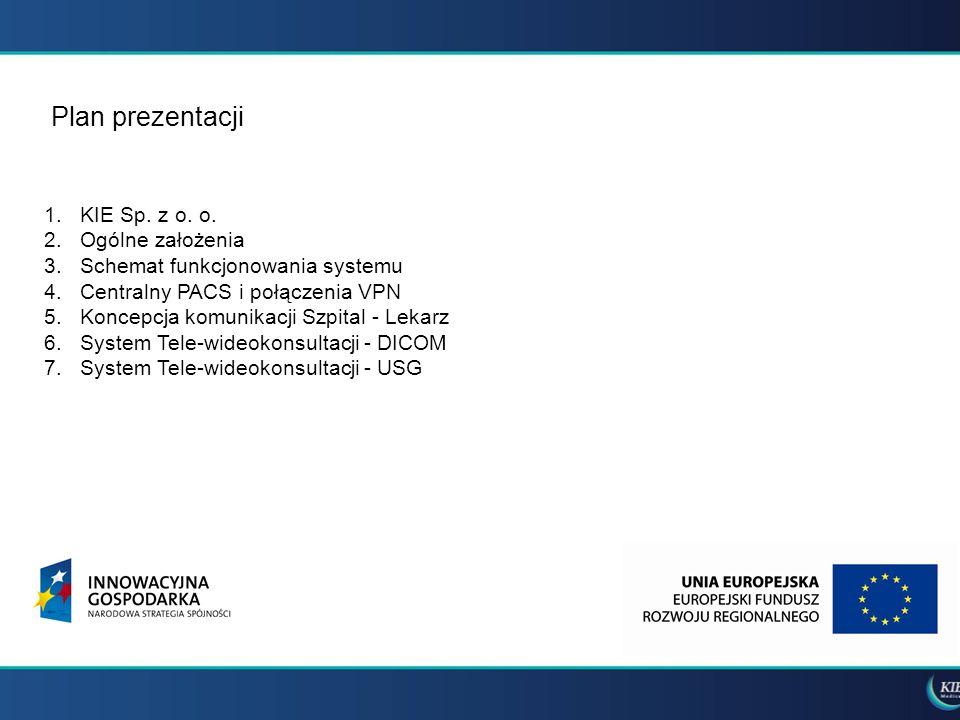 Plan prezentacji 1.KIE Sp. z o. o. 2.Ogólne założenia 3.Schemat funkcjonowania systemu 4.Centralny PACS i połączenia VPN 5.Koncepcja komunikacji Szpit
