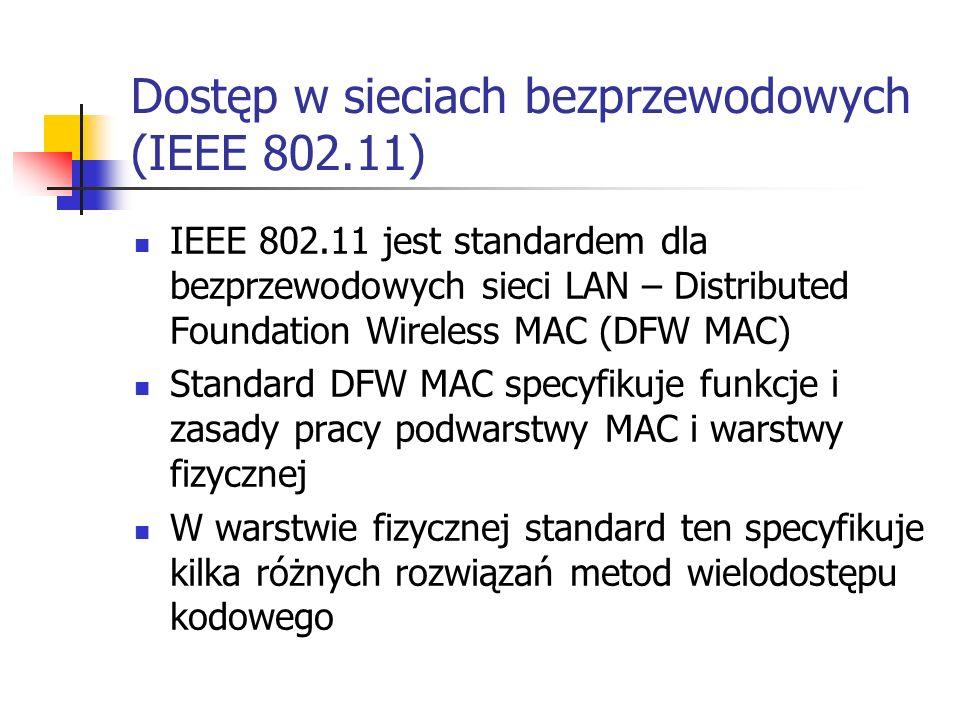 Dostęp w sieciach bezprzewodowych (IEEE 802.11) IEEE 802.11 jest standardem dla bezprzewodowych sieci LAN – Distributed Foundation Wireless MAC (DFW MAC) Standard DFW MAC specyfikuje funkcje i zasady pracy podwarstwy MAC i warstwy fizycznej W warstwie fizycznej standard ten specyfikuje kilka różnych rozwiązań metod wielodostępu kodowego