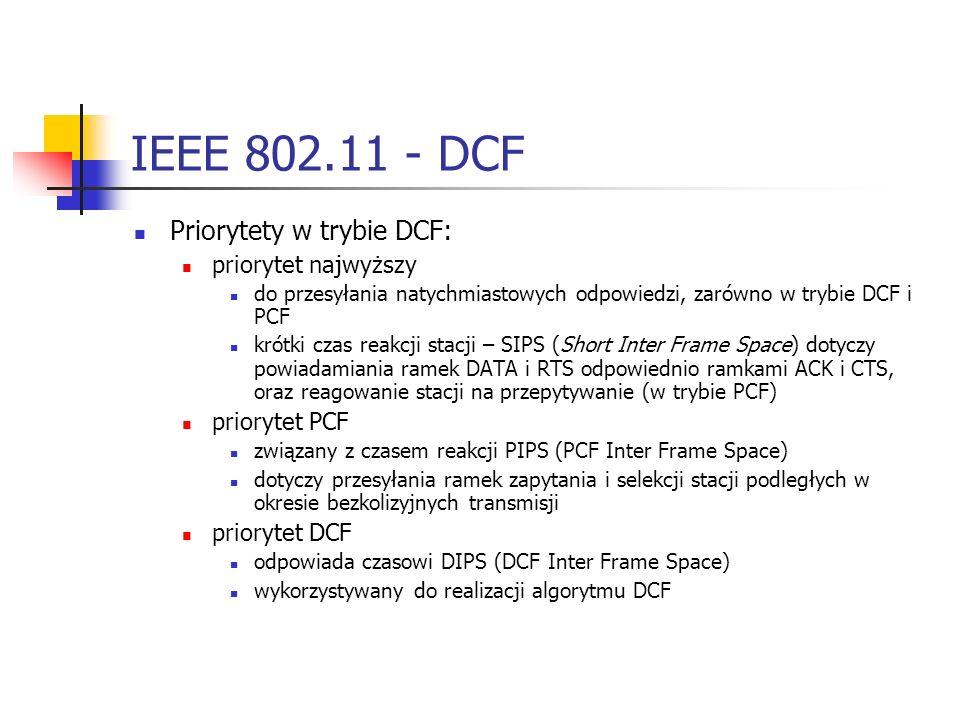 IEEE 802.11 - DCF Priorytety w trybie DCF: priorytet najwyższy do przesyłania natychmiastowych odpowiedzi, zarówno w trybie DCF i PCF krótki czas reakcji stacji – SIPS (Short Inter Frame Space) dotyczy powiadamiania ramek DATA i RTS odpowiednio ramkami ACK i CTS, oraz reagowanie stacji na przepytywanie (w trybie PCF) priorytet PCF związany z czasem reakcji PIPS (PCF Inter Frame Space) dotyczy przesyłania ramek zapytania i selekcji stacji podległych w okresie bezkolizyjnych transmisji priorytet DCF odpowiada czasowi DIPS (DCF Inter Frame Space) wykorzystywany do realizacji algorytmu DCF