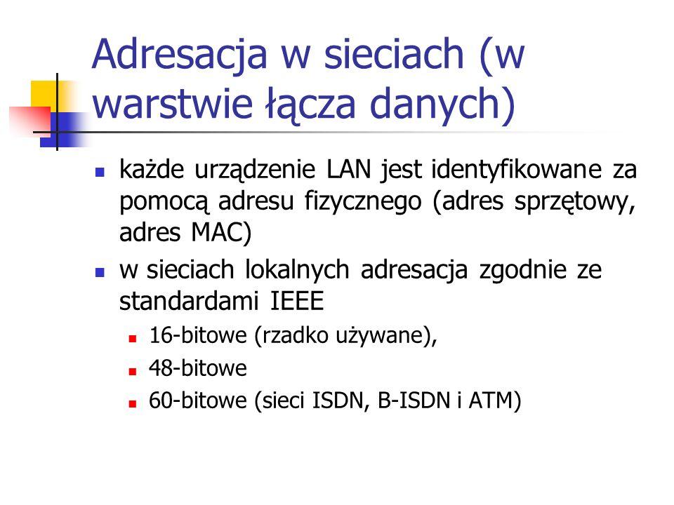 Adresacja w sieciach (w warstwie łącza danych) każde urządzenie LAN jest identyfikowane za pomocą adresu fizycznego (adres sprzętowy, adres MAC) w sieciach lokalnych adresacja zgodnie ze standardami IEEE 16-bitowe (rzadko używane), 48-bitowe 60-bitowe (sieci ISDN, B-ISDN i ATM)