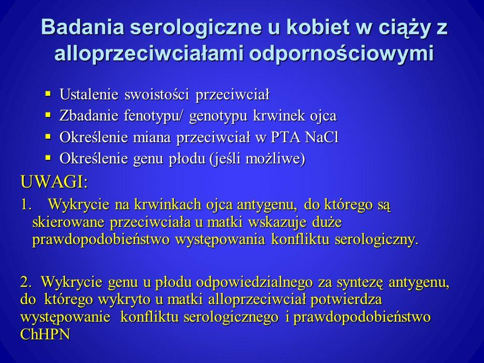 Badania serologiczne u kobiet w ciąży z alloprzeciwciałami odpornościowymi Ustalenie swoistości przeciwciał Ustalenie swoistości przeciwciał Zbadanie fenotypu/ genotypu krwinek ojca Zbadanie fenotypu/ genotypu krwinek ojca Określenie miana przeciwciał w PTA NaCl Określenie miana przeciwciał w PTA NaCl Określenie genu płodu (jeśli możliwe) Określenie genu płodu (jeśli możliwe)UWAGI: 1.Wykrycie na krwinkach ojca antygenu, do którego są skierowane przeciwciała u matki wskazuje duże prawdopodobieństwo występowania konfliktu serologiczny.