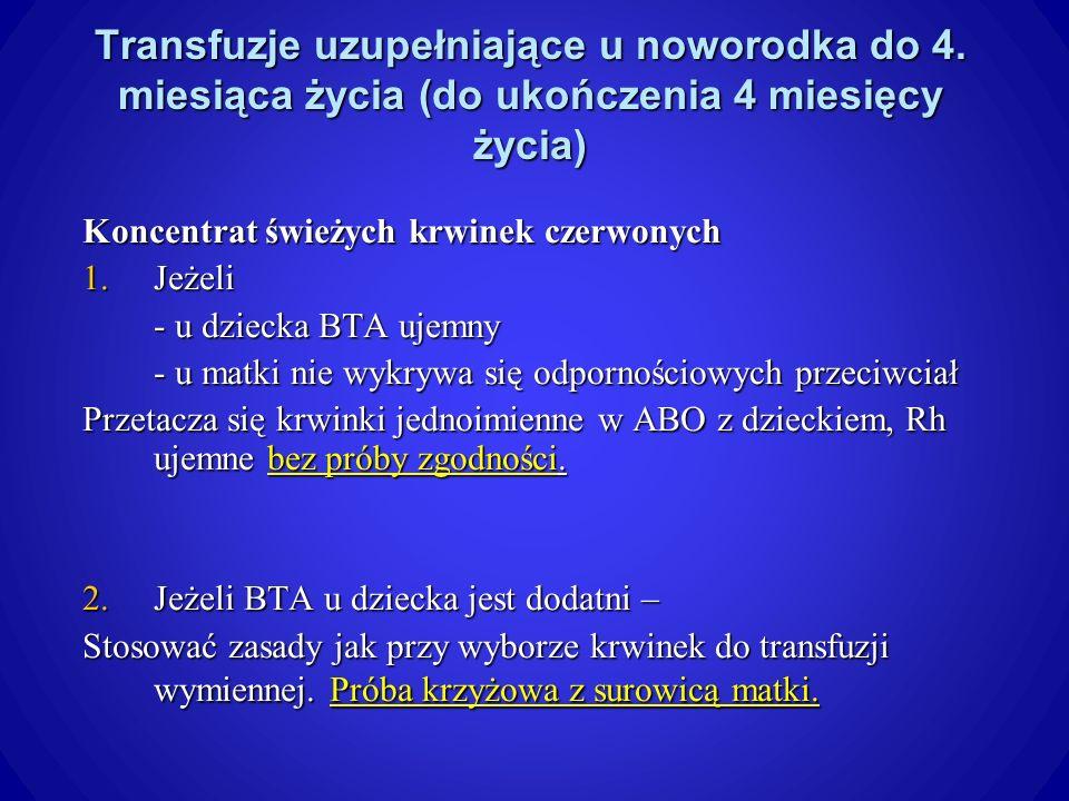 Transfuzje uzupełniające u noworodka do 4.