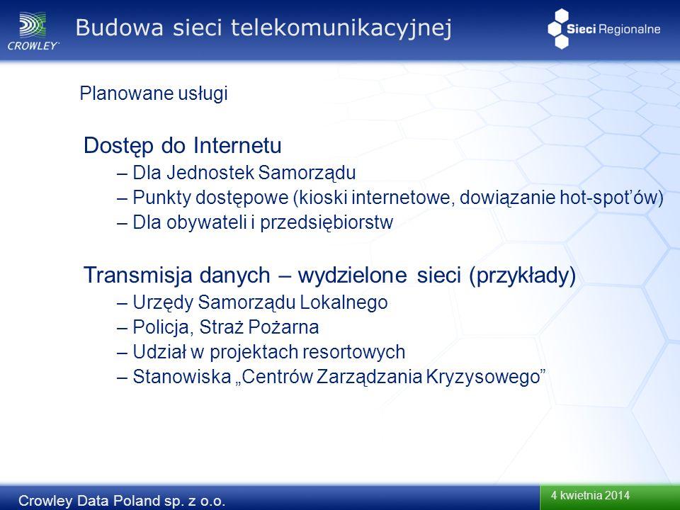 4 kwietnia 2014 Crowley Data Poland sp. z o.o. Dostęp do Internetu – Dla Jednostek Samorządu – Punkty dostępowe (kioski internetowe, dowiązanie hot-sp