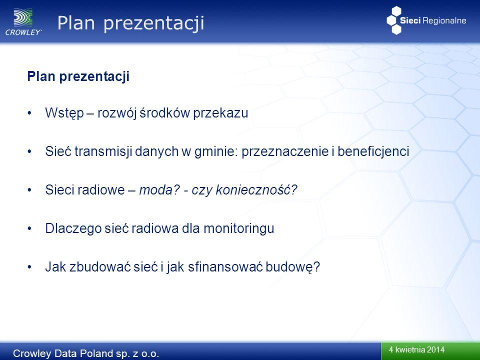 4 kwietnia 2014 Crowley Data Poland sp. z o.o. Plan prezentacji Wstęp – rozwój środków przekazu Sieć transmisji danych w gminie: przeznaczenie i benef