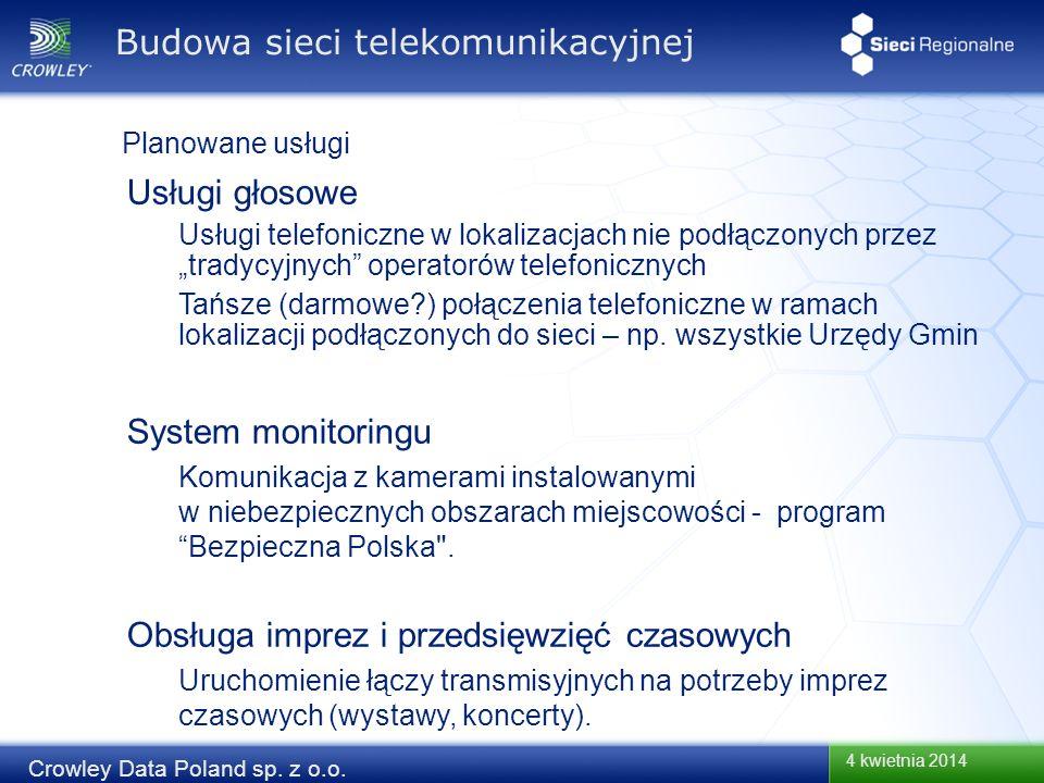 4 kwietnia 2014 Crowley Data Poland sp. z o.o. Usługi głosowe Usługi telefoniczne w lokalizacjach nie podłączonych przez tradycyjnych operatorów telef