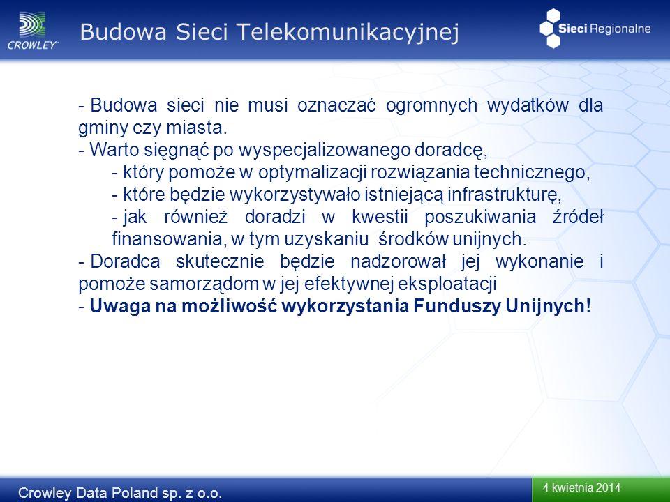 4 kwietnia 2014 Crowley Data Poland sp. z o.o. Budowa Sieci Telekomunikacyjnej - Budowa sieci nie musi oznaczać ogromnych wydatków dla gminy czy miast