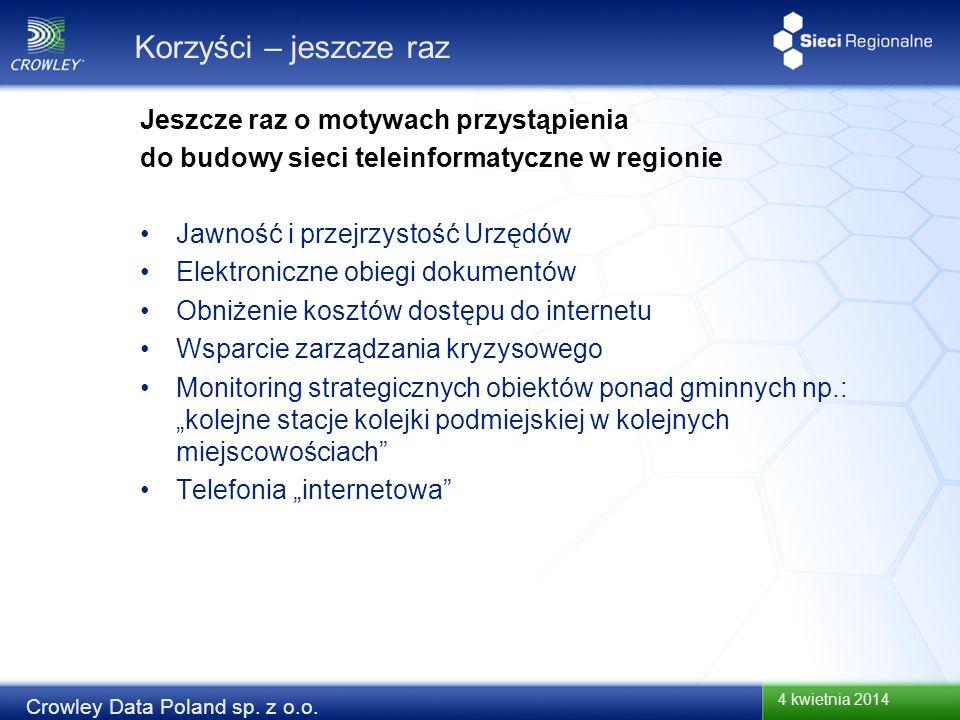 4 kwietnia 2014 Crowley Data Poland sp. z o.o. Korzyści – jeszcze raz Jawność i przejrzystość Urzędów Elektroniczne obiegi dokumentów Obniżenie kosztó