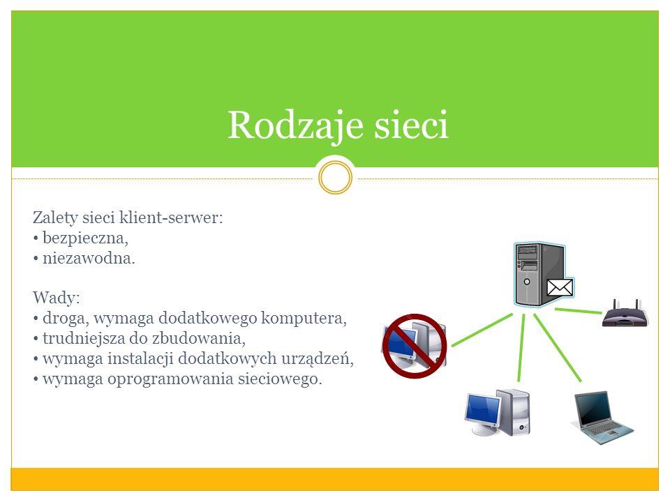 Rodzaje sieci Zalety sieci klient-serwer: bezpieczna, niezawodna. Wady: droga, wymaga dodatkowego komputera, trudniejsza do zbudowania, wymaga instala