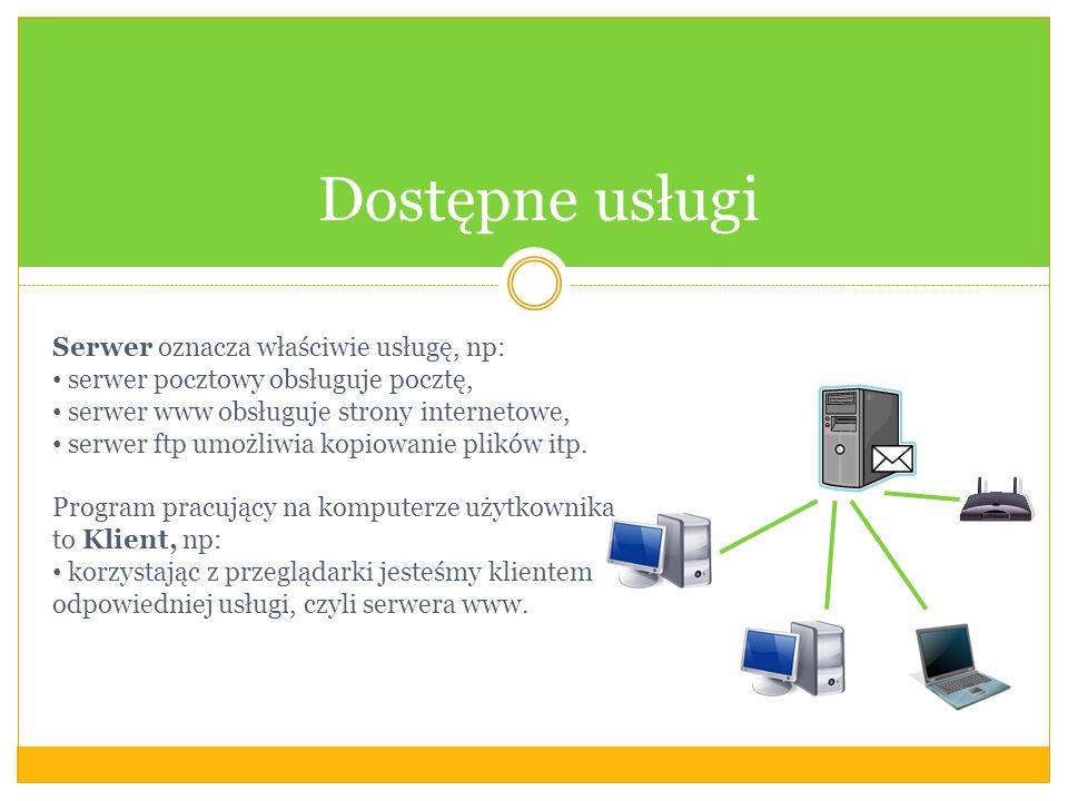 Dostępne usługi Serwer oznacza właściwie usługę, np: serwer pocztowy obsługuje pocztę, serwer www obsługuje strony internetowe, serwer ftp umożliwia kopiowanie plików itp.