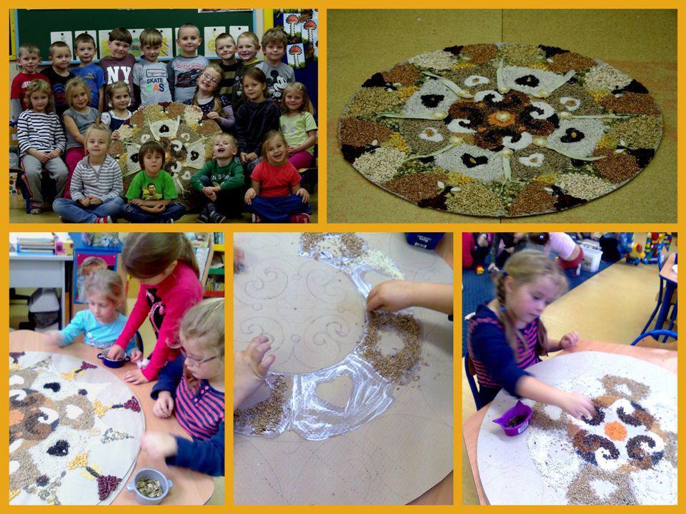 III Dzieci: Uczestniczyły w konkursie Zbożowa mandala, wysypując ziarna zbóż na płaszczyźnie koła.