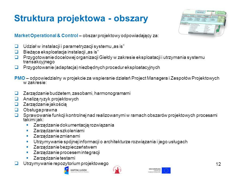 12 Struktura projektowa - obszary Market Operational & Control – obszar projektowy odpowiadający za: Udział w instalacji i parametryzacji systemu as is Bieżąca eksploatacja instalacji as is Przygotowanie docelowej organizacji Giełdy w zakresie eksploatacji i utrzymania systemu transakcyjnego Przygotowanie (adaptacja) niezbędnych procedur eksploatacyjnych PMO – odpowiedzialny w projekcie za wspieranie działań Project Managera i Zespołów Projektowych w zakresie: Zarządzanie budżetem, zasobami, harmonogramami Analizą ryzyk projektowych Zarządzanie jakością Obsługa prawna Sprawowanie funkcji kontrolnej nad realizowanymi w ramach obszarów projektowych procesami takimi jak: Zarządzanie dokumentacją rozwiązania Zarządzanie szkoleniami Zarządzanie zmianami Utrzymywanie spójnej informacji o architekturze rozwiązania i jego usługach Zarządzanie bezpieczeństwem Zarządzanie procesem integracji Zarządzanie testami Utrzymywanie repozytorium projektowego