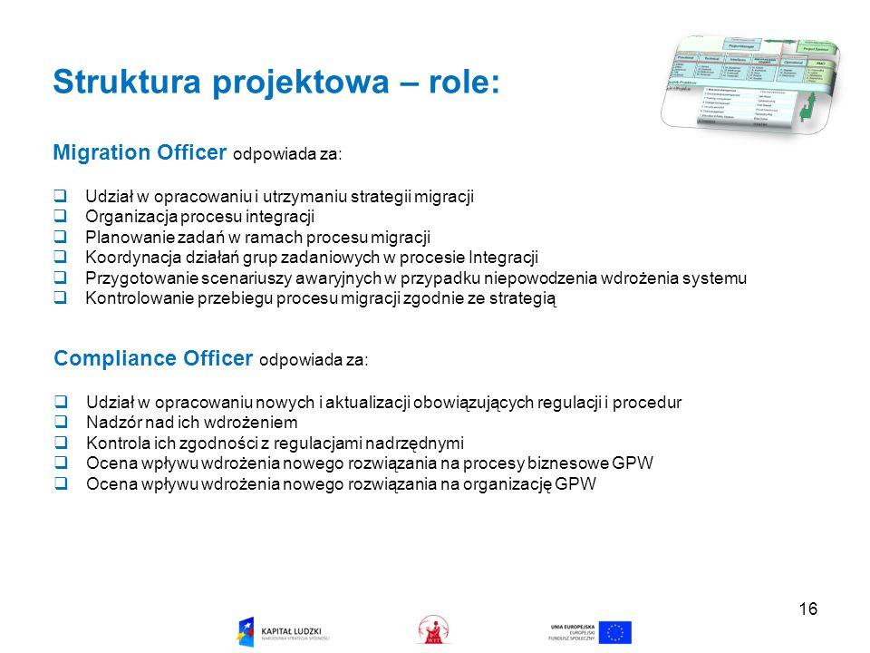 16 Struktura projektowa – role: Migration Officer odpowiada za: Udział w opracowaniu i utrzymaniu strategii migracji Organizacja procesu integracji Planowanie zadań w ramach procesu migracji Koordynacja działań grup zadaniowych w procesie Integracji Przygotowanie scenariuszy awaryjnych w przypadku niepowodzenia wdrożenia systemu Kontrolowanie przebiegu procesu migracji zgodnie ze strategią Compliance Officer odpowiada za: Udział w opracowaniu nowych i aktualizacji obowiązujących regulacji i procedur Nadzór nad ich wdrożeniem Kontrola ich zgodności z regulacjami nadrzędnymi Ocena wpływu wdrożenia nowego rozwiązania na procesy biznesowe GPW Ocena wpływu wdrożenia nowego rozwiązania na organizację GPW