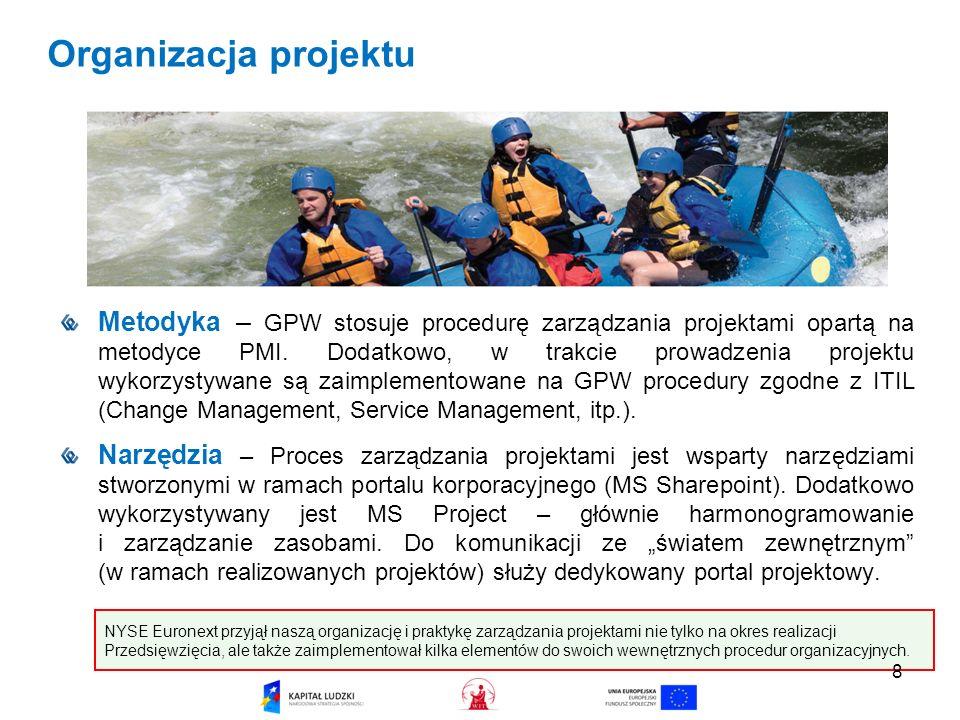 Organizacja projektu Metodyka – GPW stosuje procedurę zarządzania projektami opartą na metodyce PMI.