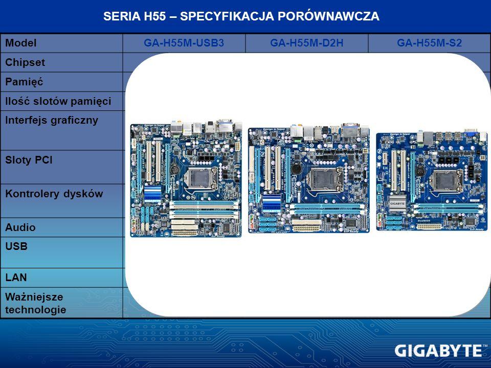ModelGA-H55M-USB3GA-H55M-D2HGA-H55M-S2 ChipsetIntel H55 Pamięć2 kanały, DDR3 1333/1066 Ilość slotów pamięci42 Interfejs graficznyPCI-E 2.0 PCI-Ex16 Sl