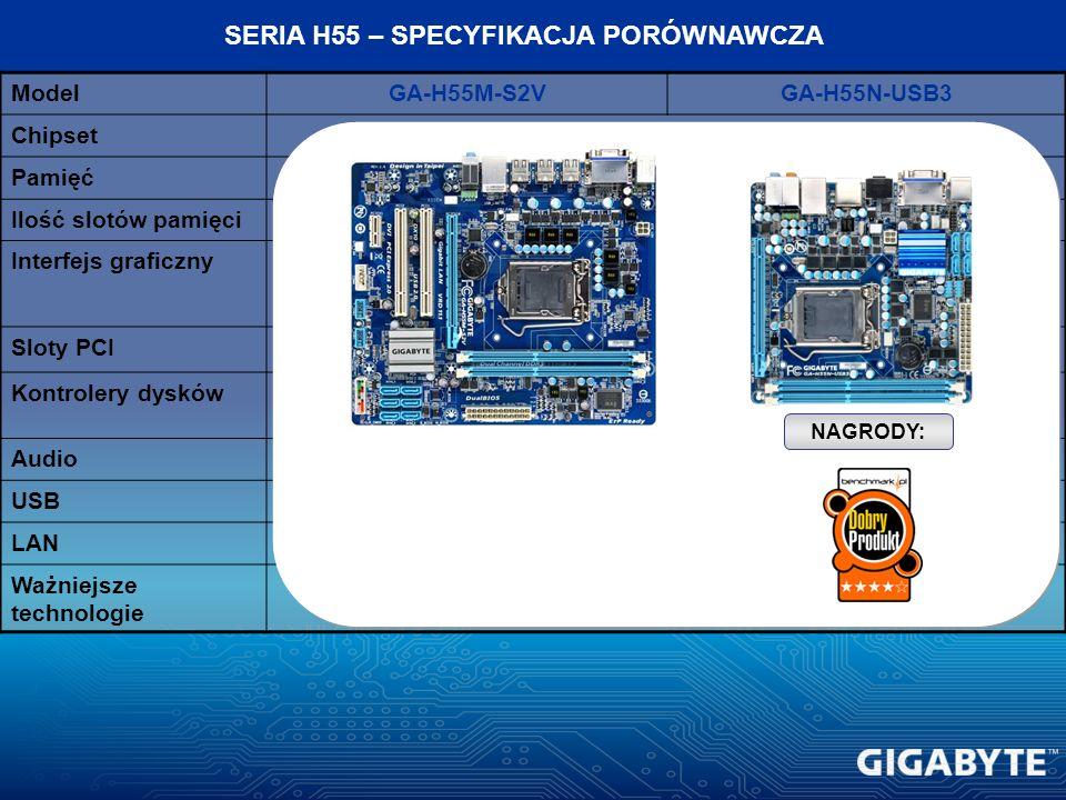 ModelGA-H55M-S2VGA-H55N-USB3 ChipsetIntel H55 Pamięć2 kanały, DDR3 1333/1066 Ilość slotów pamięci42 Interfejs graficznyPCI-E 2.0 PCI-Ex16 Sloty PCI2*