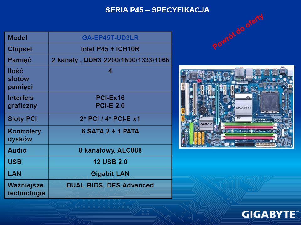 ModelGA-EP45T-UD3LR ChipsetIntel P45 + ICH10R Pamięć2 kanały, DDR3 2200/1600/1333/1066 Ilość slotów pamięci 4 Interfejs graficzny PCI-Ex16 PCI-E 2.0 S