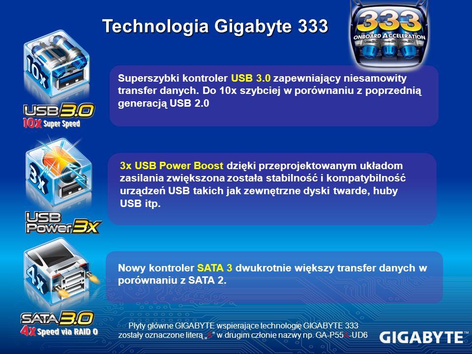 Superszybki kontroler USB 3.0 zapewniający niesamowity transfer danych. Do 10x szybciej w porównaniu z poprzednią generacją USB 2.0 3x USB Power Boost