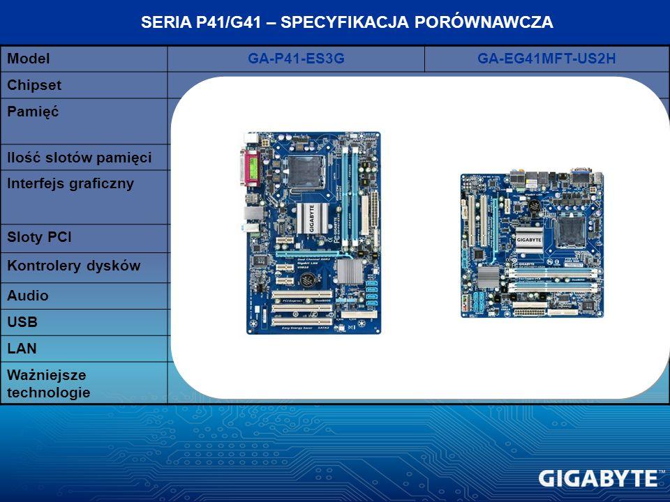 ModelGA-P41-ES3GGA-EG41MFT-US2H ChipsetIntel G41 + ICH7 Pamięć2 kanały, DDR2 800/667 2 kanały, DDR3 1066/800 Ilość slotów pamięci24 Interfejs graficzn