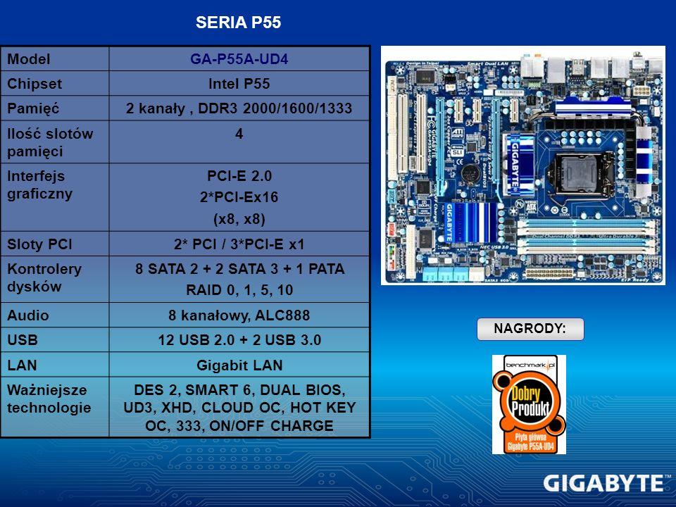 ModelGA-P55A-UD4 ChipsetIntel P55 Pamięć2 kanały, DDR3 2000/1600/1333 Ilość slotów pamięci 4 Interfejs graficzny PCI-E 2.0 2*PCI-Ex16 (x8, x8) Sloty P
