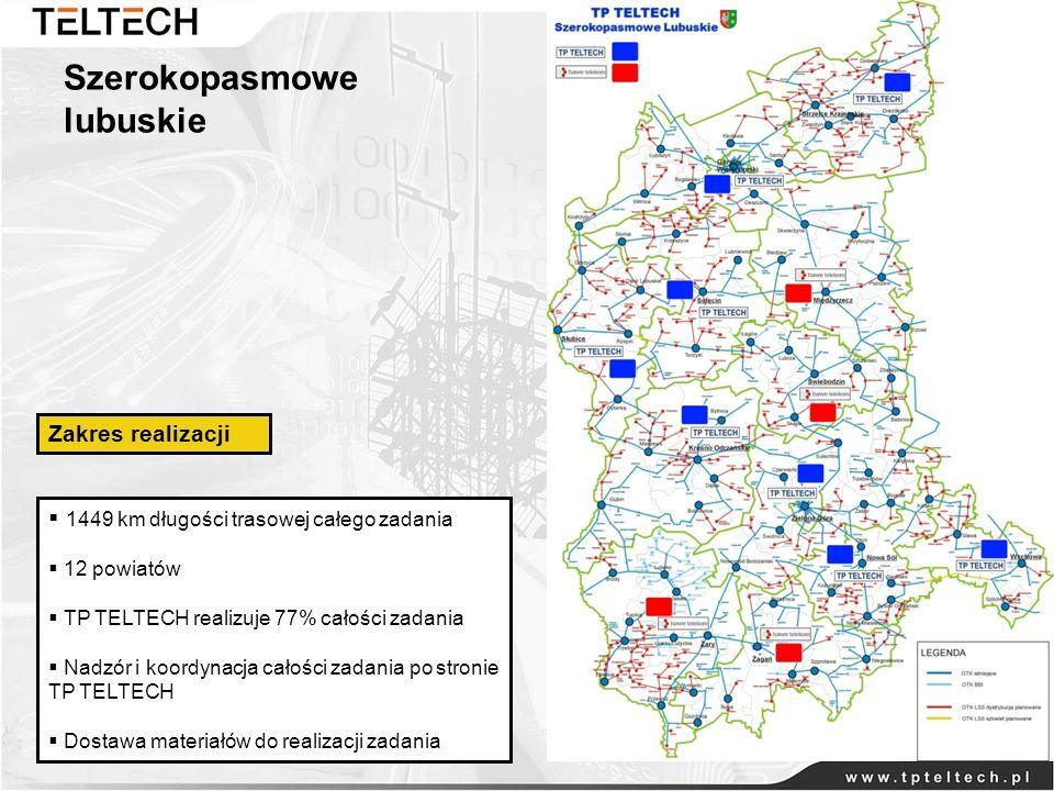 Szerokopasmowe lubuskie 1449 km długości trasowej całego zadania 12 powiatów TP TELTECH realizuje 77% całości zadania Nadzór i koordynacja całości zad