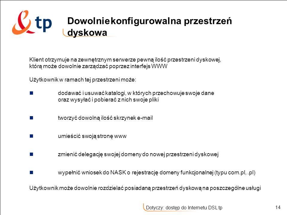 14 Dotyczy: dostęp do Internetu DSL tp Klient otrzymuje na zewnętrznym serwerze pewną ilość przestrzeni dyskowej, którą może dowolnie zarządzać poprze