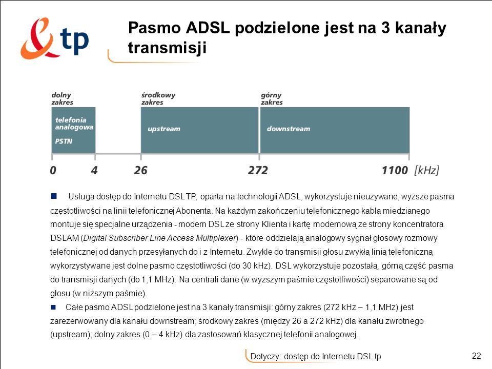 22 Dotyczy: dostęp do Internetu DSL tp Pasmo ADSL podzielone jest na 3 kanały transmisji Usługa dostęp do Internetu DSL TP, oparta na technologii ADSL